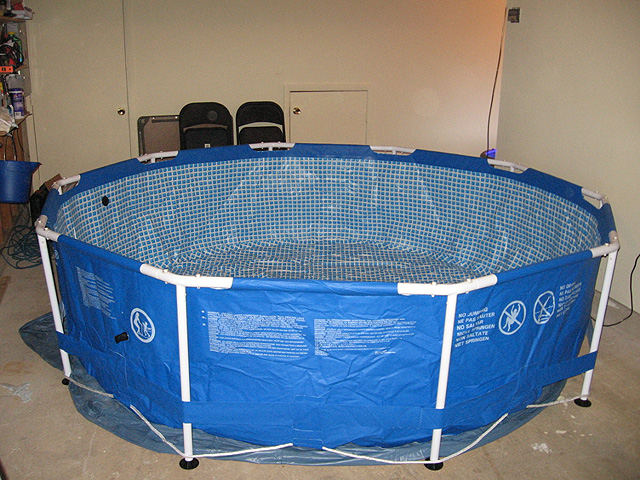 Our new intex 1200g metal frame indoor pool project for Koi intex pool
