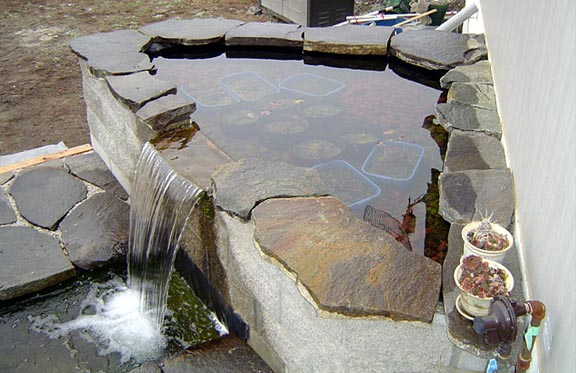 Formal pond waterfalls for Homemade waterfall filter