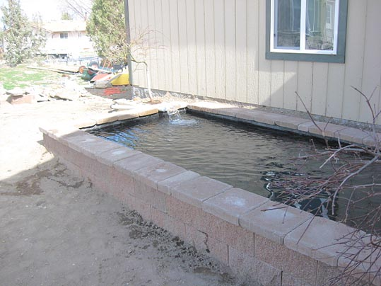 Making a short cinder block wall around a pond for Cinder block koi pond