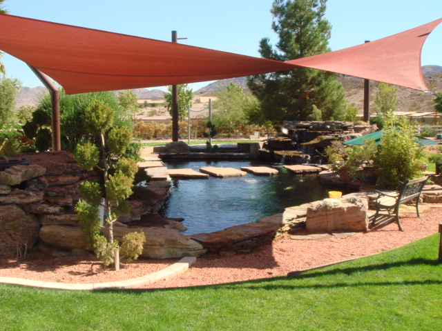 Shade sails how long do they last for Koi pond shade ideas