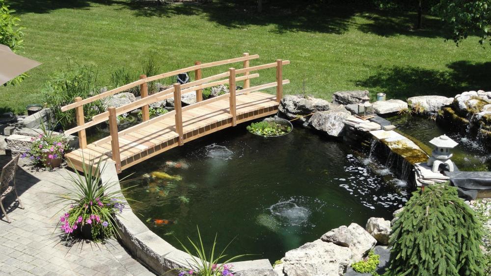 My new pond bridge for Koi pond bridge