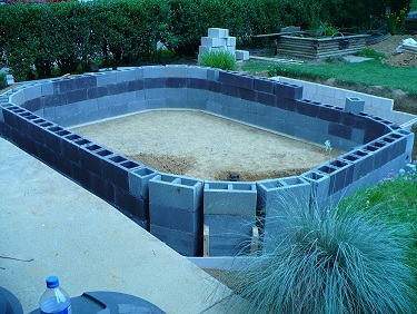 Cinder block and clay mud pond for Cinder block koi pond