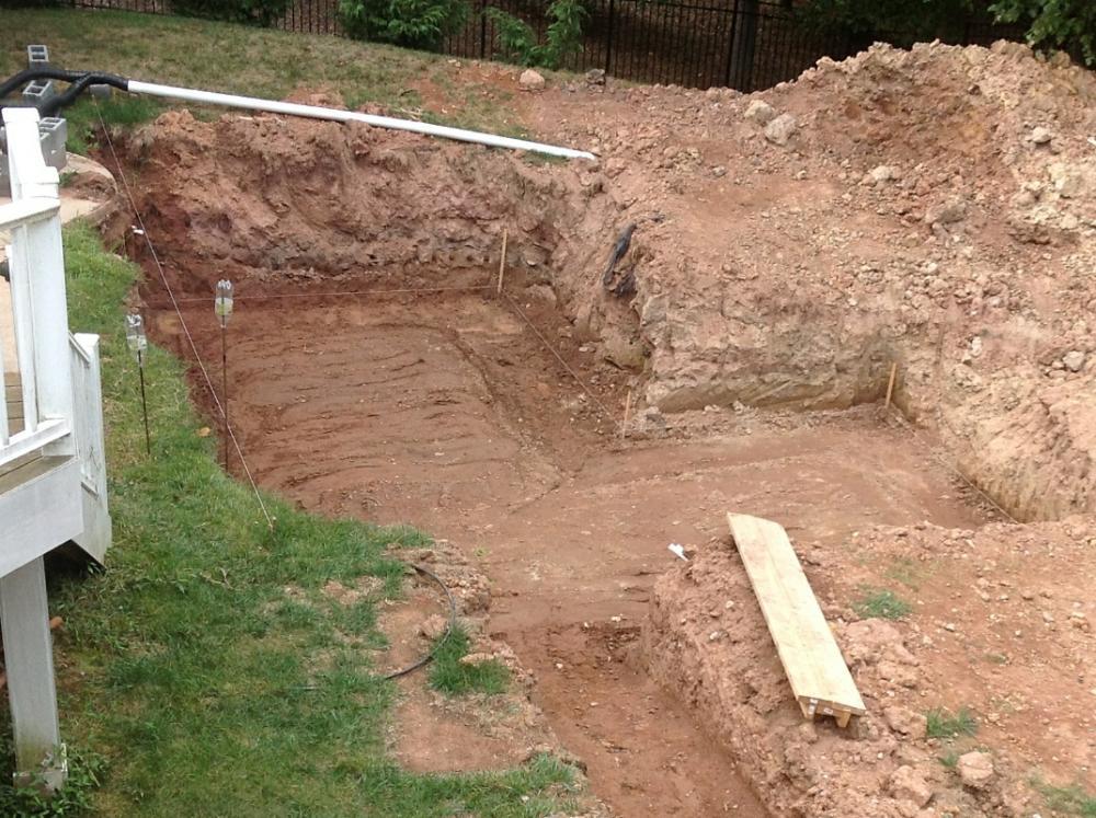 Koi pond concrete slab on clay soil for What does soil