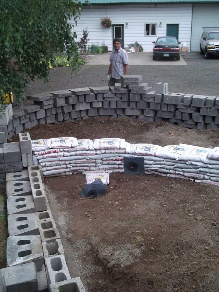 1st pond diy liner on concrete block sandbag for Concrete pond construction