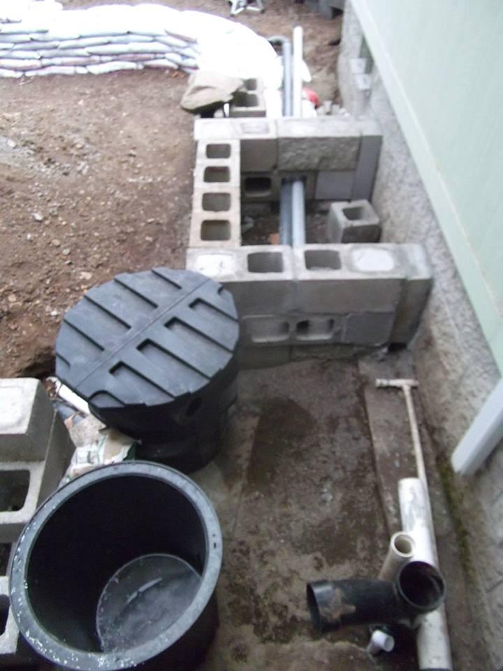 1st pond diy liner on concrete block sandbag for Koi pond plumbing diagram