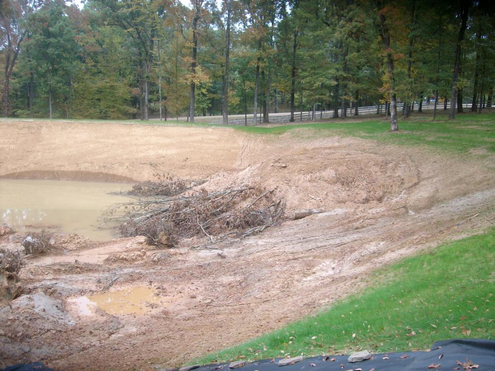 Bill dance pond under construction for Biofiltration pond