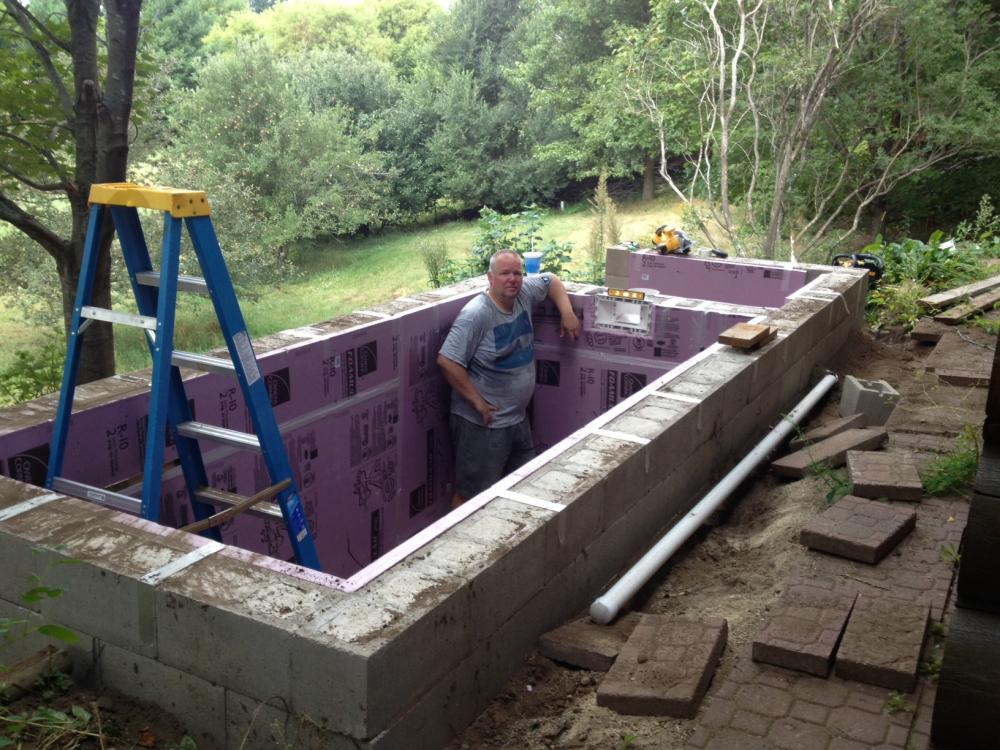 Topping off a concrete block liner pond for Cinder block pond ideas