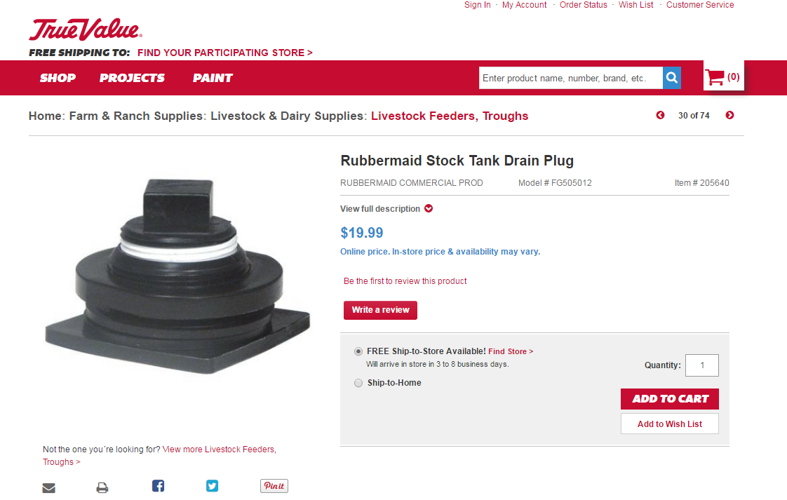 rubbermaid stock tank drain plug size. Black Bedroom Furniture Sets. Home Design Ideas
